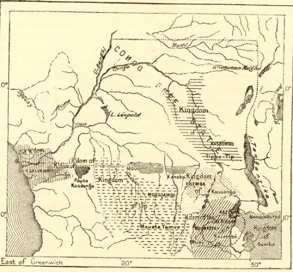 Carte de l'État Indépendant du Congo en 1885