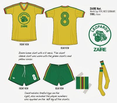 ZAÏRE 1974 équipement Short + Maillot adidas domicile