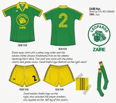 ZAÏRE 1974 équipement Short + Maillot adidas