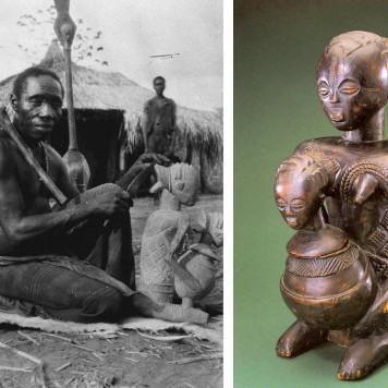 Kitwa-Biseke, célèbre sculpteur sur bois des Kashbichi à qui l'on attribue le bol anthropomorphe en gros plan à droite